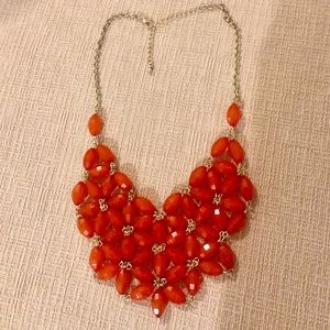 Red beaded tiered necklace